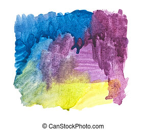 water color strokes painting on white background
