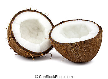 Fresh coconut on white background - Fresh coconut isolated...