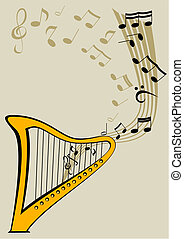 Harp and notes - Vector image of the Harp and lyre
