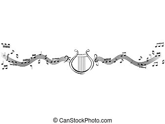 Notes and lyre - Abstract vector image lyre and notes on...