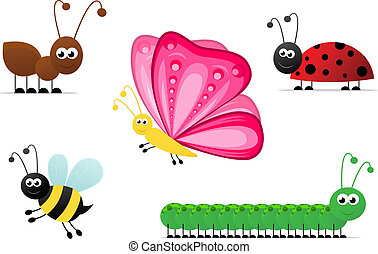 Cartoon Insects - Cartoon illustration of:ant, bee,...