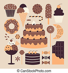 Sweet Things - A set of retro dessert icons in pastel...