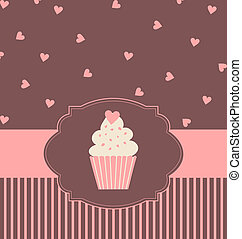 Cupcake Card - Illustration of a cute cupcake in pastel pink...