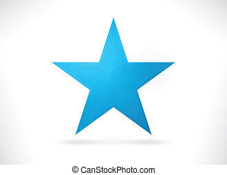 Blue abstract star shape - Smooth abstract star shape with...