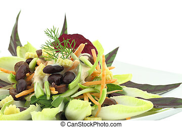 Vegetables salad with red beans