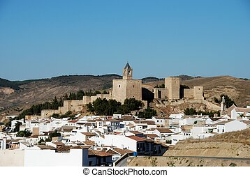 Castle and town, Antequera. - Castle fortress with...