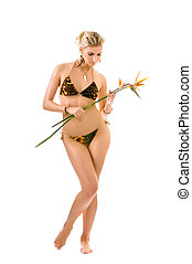 Beautiful wild woman with bird of paradise flower isolated...
