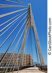 Cabled footbridge, Fuengirola. - Cabled bridge across the...
