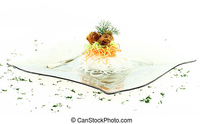 Vegetables with smoked salmon