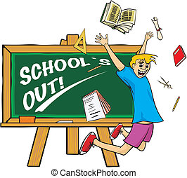 school`s out - jump for joy - school classroom, old chalk...