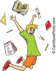 happy schoolboy - graduation - schools out for summer