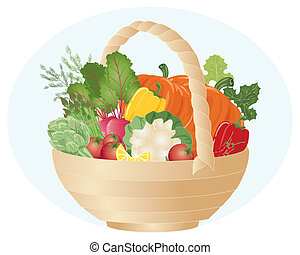 vegetable hamper - an illustration of a hamper full of...