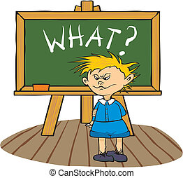 at the chalkboard - what? - a student asks how to solve the...