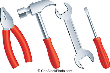 Construction tools. - Set of 4 construction tools with red...