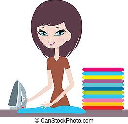 jeune, dessin animé, femme, fers, vêtements