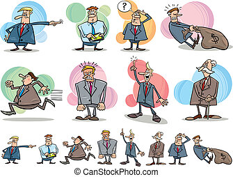 funny businessmen set - cartoon illustration of funny...