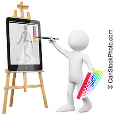 3D Artist - Artist painting in a tablet pc. Rendered at high...