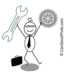 Businessman Happy with gear and Wre