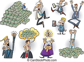 happy successful businessmen set - cartoon illustration of...