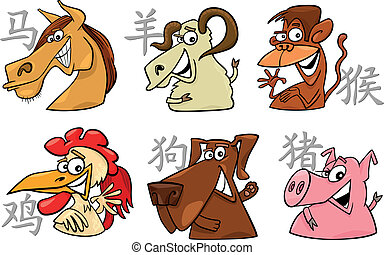 six chinese zodiac signs - cartoon illustration of six...