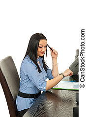 Business  woman checking watch