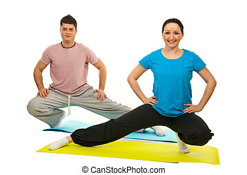 Couple doing fitness