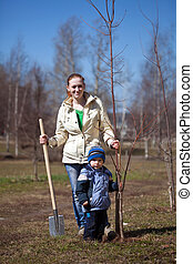 woman with her son planting the tree - young woman with her...