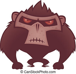 Angry Ape - Vector cartoon illustration of an angry ape with...