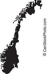 Vector illustration of maps of  Norway