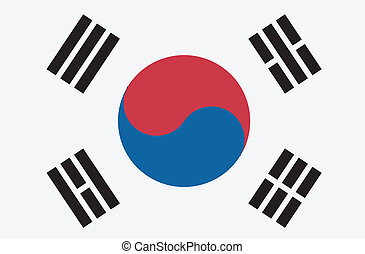 Vector illustration of the flag of Republic of Korea