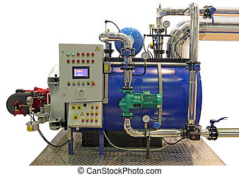 boiler - independent modern gas boiler room with manometers,...