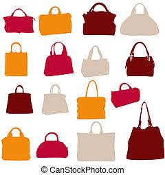 sacs, vecteur,  silhouette, Femmes