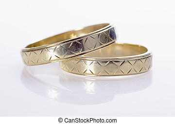 wedding bands on the white background