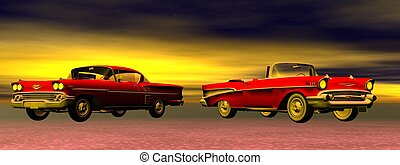 Old cars - Two red old cars from 60's in colorful background