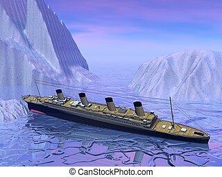 Titanic boat sinking - Titanic boat among next to big...