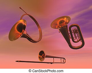 Brass band instruments in pink background