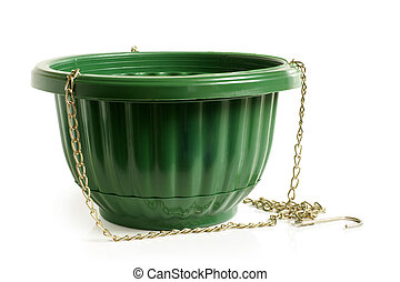 Empty green flower pot on a white background