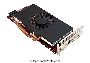 Computer graphic card on white background