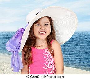 Little Girl in Beach Hat Portrait