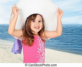 Little Girl in Beach Hat