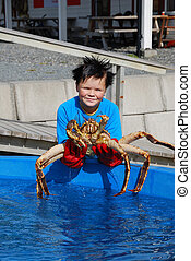 Norwegian youthful fisher with an alive king crab -...