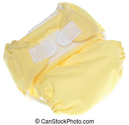 Eco Friendly Yellow Cloth Diaper with Hook and Loop Closure...