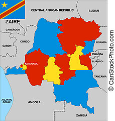 zaire map - very big size political map of zaire with flag