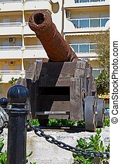 Old canon, Fuengirola, Spain. - Old canon displayed along...