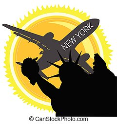 travel in new york vector illustration with sun and plane