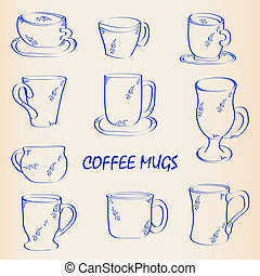 Hand Drawn Coffee Mugs Icon Set