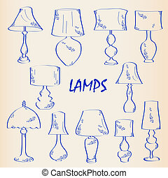 Hand Drawn Interior Lamps Icon Set
