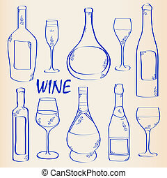 Wine Bottles and Glasses Icon Set - hand drawn wine bottles...