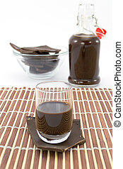 chocolate cream - delicious chocolate liqueur into the glass