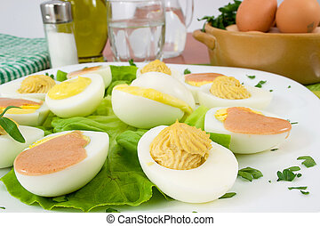 boiled eggs mixed with sauces - tasty and soft boiled eggs...